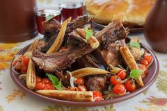 Roast ribs of wild boar royalty free stock photo