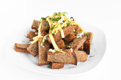 Roast rusk from bread with cheese and garlic Royalty Free Stock Photos