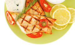 Roast salmon and soft cheeses Royalty Free Stock Image