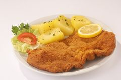 Roast with Sidedishes - Wiener Schnitzel mit Beilagen Royalty Free Stock Photo