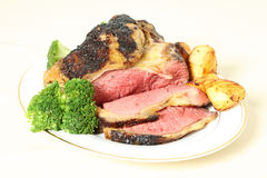 Roast sirloin beef joint on plate Royalty Free Stock Photos