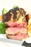 Roast sirloin beef joint vertical Royalty Free Stock Images