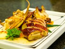 Roast squid with soy sauce Royalty Free Stock Photo