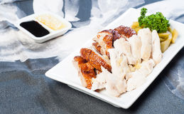 Roast and steamed chicken Royalty Free Stock Image
