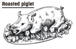 Roast suckling pig. Roasted piglet with vegetables on platter. royalty free illustration