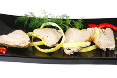 Roast tuna slices with vegetables Royalty Free Stock Images