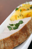 Roast tuna steak and potatoes Royalty Free Stock Image