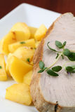 Roast tuna steak and potatoes Royalty Free Stock Images