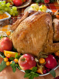 Roast turkey. On holiday decorated table Stock Image