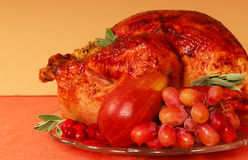 Roast turkey. With bread stuffing, sage and fruit stock photo