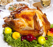 Roast Turkey. Thanksgiving dinner with roast turkey, , pumpkin pie, gravy,  cranberry chutney stuffing etc Royalty Free Stock Photo