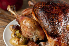 Roast turkey. Traditional dish: roast turkey with potatoes and sprouts Royalty Free Stock Images