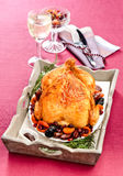 Roast turkey. With dried fruit Stock Images