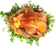 Roast turkey from above Royalty Free Stock Photography