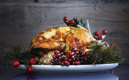 Roast turkey against dark rustic wood background. Scrumptious roast turkey chicken on platter with festive decorations for Thanksgiving or Christmas lunch stock photos
