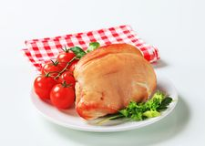 Roast turkey breast. And fresh tomatoes royalty free stock images