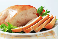 Roast turkey breast. On a plate Royalty Free Stock Images