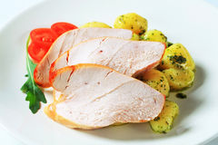 Roast turkey breast and potatoes Royalty Free Stock Image