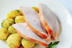 Roast turkey breast and potatoes stock photography