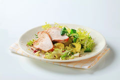 Roast turkey breast and potatoes stock images