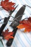 Roast turkey carving utensils set with plale blue stripe apron - closeup. Stock Photo