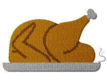 Roast turkey, chicken of knitted fabric isolated on white backgr Stock Photos