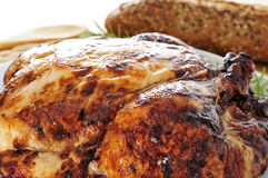 Roast turkey. Closeup of a roast turkey, served on a table royalty free stock photo