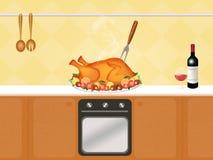 Roast turkey. Cute illustration of roast turkey Royalty Free Stock Photos