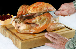 Roast Turkey on Cutting Board Royalty Free Stock Image