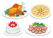 Roast turkey and  delicious food. Vector illustration of Roast turkey and  delicious food Royalty Free Stock Photo