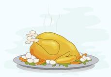 Roast turkey dinner. Vector illustration of a roast turkey on a platterwith vegetables Stock Photo