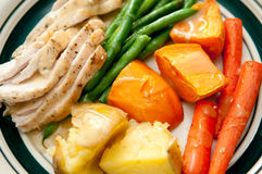 Roast turkey dinner. Sliced turkey with green beans, roasted potatoes, yams or sweet potatoes and roasted carrots with gravy. This is a very colorful meal Royalty Free Stock Photos
