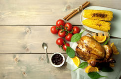 Roast turkey festive meal with background space Stock Images