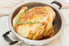 Roast turkey in pan Royalty Free Stock Photo