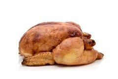 Roast turkey or roast chicken. A roast turkey or a roast chicken on a white background stock images