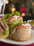 Roast Turkey Rolls with Lettuce Tomato Royalty Free Stock Photography