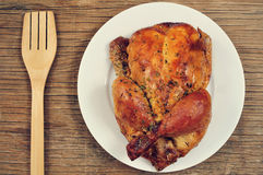 Roast turkey on a rustic wooden table Stock Image