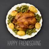 Roast turkey and text happy friendsgiving Stock Image