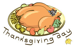 Roast turkey and text for holiday. stock image