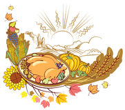 Roast turkey and text for holiday. royalty free stock photo