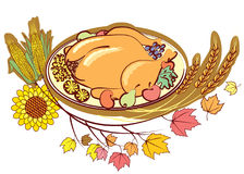 Roast turkey and text for holiday. Royalty Free Stock Photography