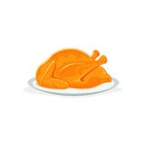 Roast Turkey for thanksgiving. Roast turkey or chicken on plate, isolated on a white background, Christmas or Thanksgiving day theme, illustration Royalty Free Stock Images
