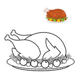 Roast turkey for Thanksgiving coloring book. fowl on plate in li. Near style. fry wildfowl with apples and cranberries. Traditional festive meal. Symbol Historic Royalty Free Stock Image