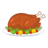 Roast turkey for Thanksgiving. Fowl on plate. Roast wildfowl wit. H apples and cranberries. Traditional festive meal. Symbol Historic national holiday Stock Images
