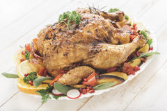 Roast turkey and vegetables Royalty Free Stock Photography