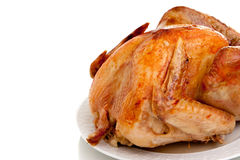 Roast turkey on white background Stock Photo