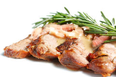 Roast veal with garlic  sauce and rosemary Royalty Free Stock Photo