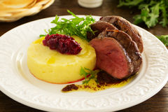 Roast veal with mashed potatoes Stock Image