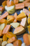 Roast vegetables. A tray of seasoned winter vegetables ready for roasting Royalty Free Stock Image