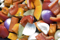 Roast vegetables. A tray of colourful vegetables ready for roasting Royalty Free Stock Images